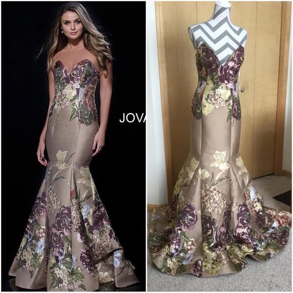 97ff3112499 jovani Multi Print Strapless Mermaid Evening Dress